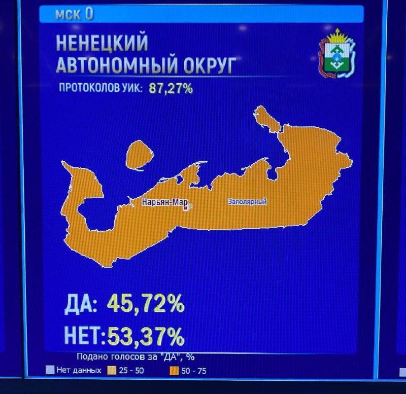 55% избирателей в Ненецком АО проголосовали против поправок в Конституции
