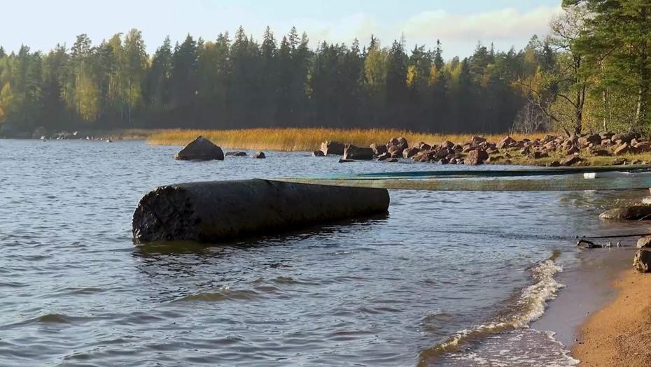 Под Выборгом из воды извлекли две гранитные колонны