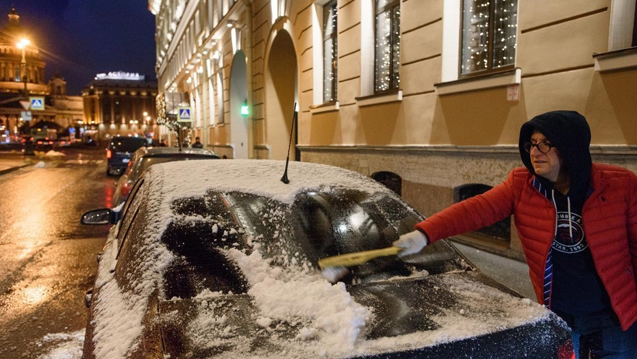 """Циклон """"Кира"""" принёс в Петербург мокрый снег с дождём"""