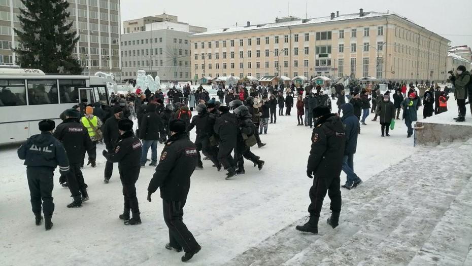 В Сыктывкаре задержали несколько десятков протестующих