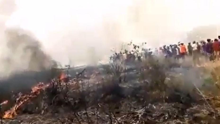 Военный самолёт полностью сгорел при крушении в Нигерии