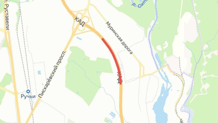 На КАД перекроют две полосы в районе развязки с Пискарёвским проспектом