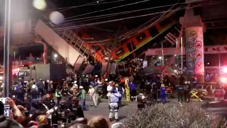 В Мехико обрушился метромост вместе с поездом – более десяти погибших