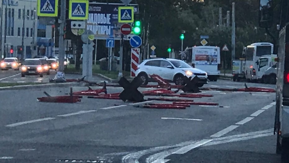 Ветер в Петербурге вырывает с корнем деревья и валит дорожные знаки